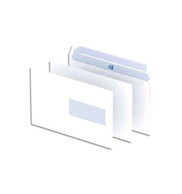 OXFORD Boîte de 500 enveloppes blanches auto-adhésives 90g format C5 162 x 229 mm fenêtre 45 x 100 mm