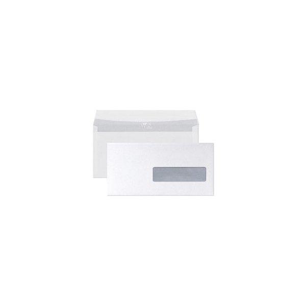CLAIREFONTAINE Boîte de 250 enveloppes auto-adhésives 90g DL 110 x 220 mm fenêtre 35 x 100 mm