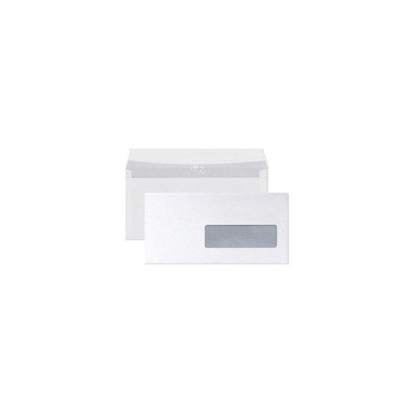 CLAIREFONTAINE Boîte de 250 enveloppes auto-adhésives 90g DL 110 x 220 mm fenêtre 45 x 100 mm