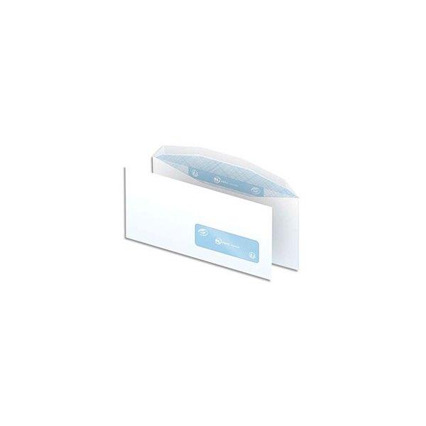 NEUTRE Boîte de 1000 enveloppes blanches gommées 80g mise sous pli automatique DL2 114 x 229 mm fenêtre 35x100 mm