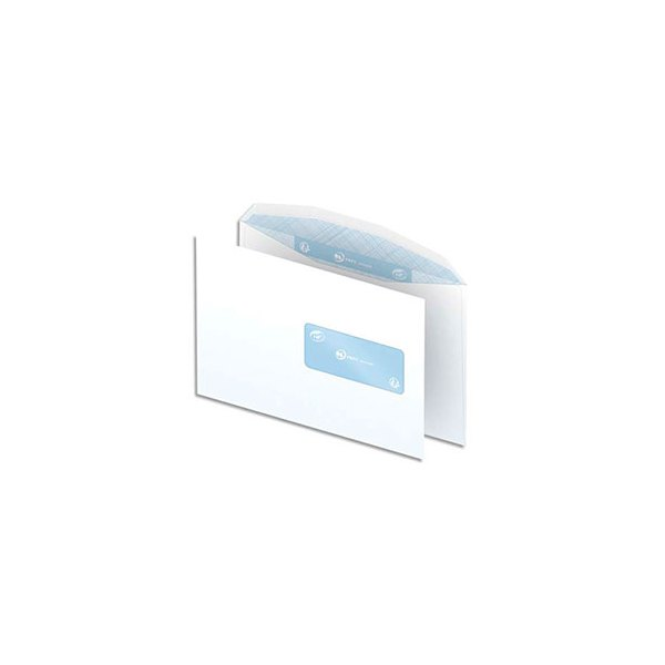 NEUTRE Boîte de 500 enveloppes blanches gommées 80g mise sous pli automatique C5 162 x 229 mm fenêtre 45 x 100 mm