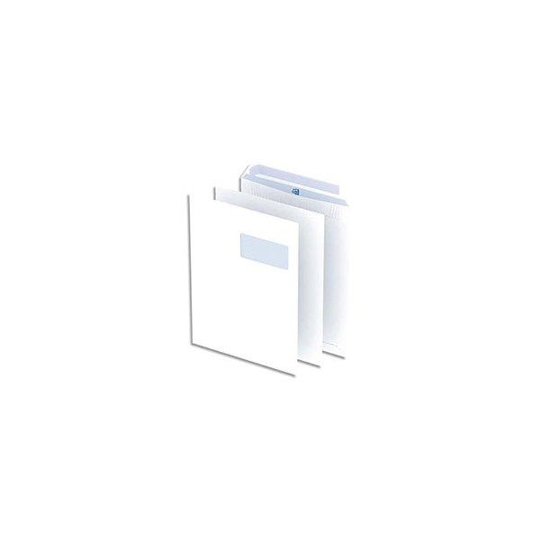 OXFORD Paquet de 250 pochettes blanches 100 g C4 229 x 324 mm fenêtre 55 x 100 mm auto-adhésives