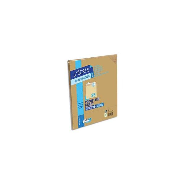 GPV Paquet de 25 pochettes kraft auto-adhésives 90g format 260 x 330 mm - 24