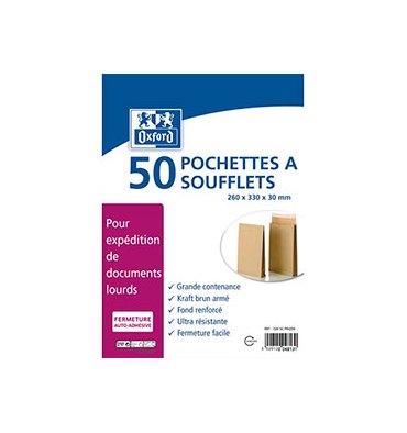 OXFORD Paquet de 50 pochettes anti-éclatement kraft armé blond auto-adhésives 120g format 24 260 x 330 mm à 3 soufflets de 30 mm