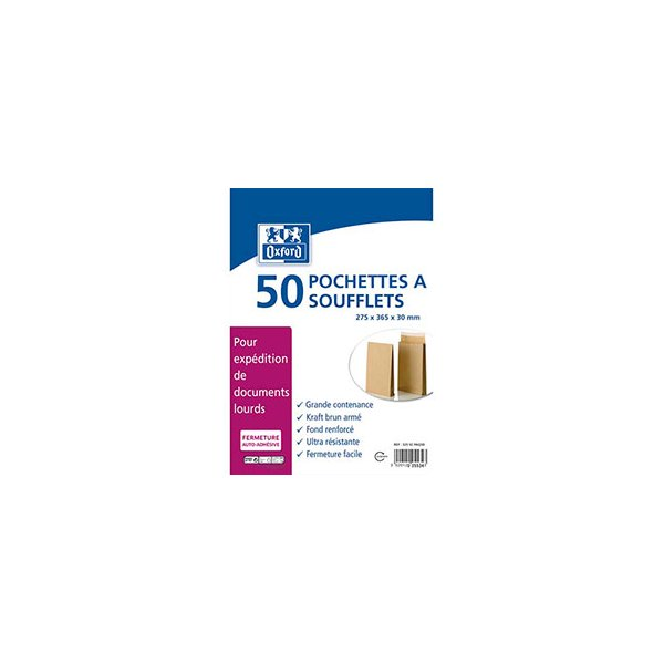OXFORD Paquet de 50 pochettes anti-éclatement kraft armé blond 120g à soufflet, format 275 x 365 mm