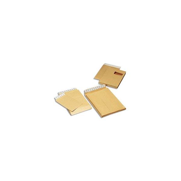 GPV Paquet de 50 pochettes anti-éclatement kraft armé  auto-adhésives à 3 soufflets format C4 à fenêtre 50 x 105 mm