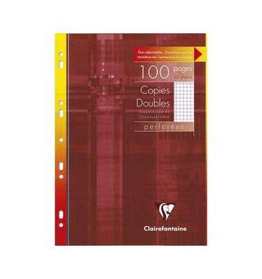 CLAIREFONTAINE Etui 100 pages Copies doubles perforées blanches A4 5x5 margé
