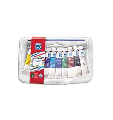 LEFRANC & BOURGEOIS Collège box en plastique de 10 tubes de gouache 10 ml. Coloris assortis