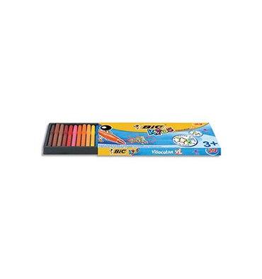 BIC KIDS Pochette 24 feutres de coloriage VISACOLOR. Pointe extra-large. Coloris assortis