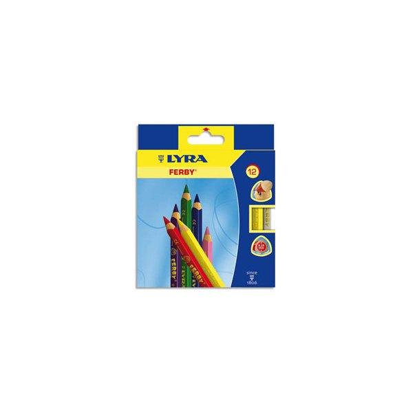 LYRA Etui de 12 crayons de couleur Ferby. Corps triangulaire mine 6,25 mm. Coloris assortis