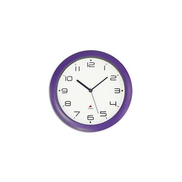 ALBA Horloge murale Hormur/Hornew silencieuse prune - pile AA non fournie - Diam 30cm (photo)