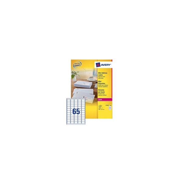 AVERY Boîte de 6500 étiquettes laser blanc média 38,1 x 21,2 mm L7651-100