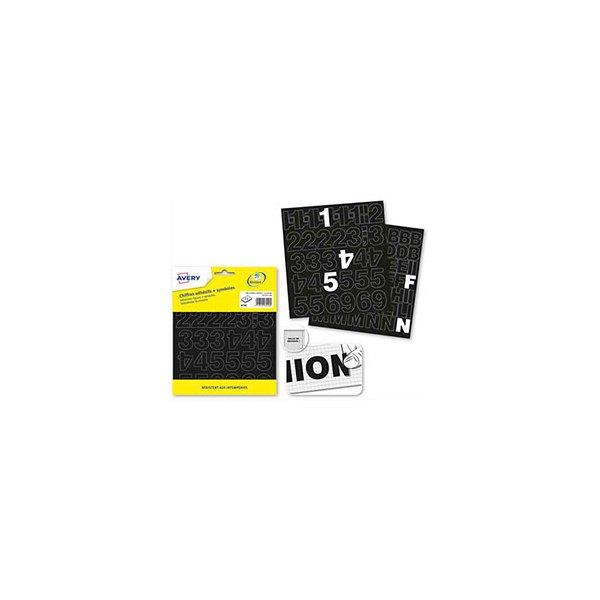 AVERY Pochette de 201 chiffres adhésifs noirs 12,5 mm