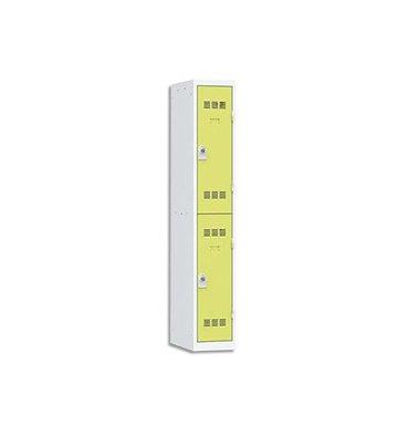 VINCO Vestiaire 2 Cases + 1 Colonne - Dimensions : 30 x 180 x 50 cm gris perle anis