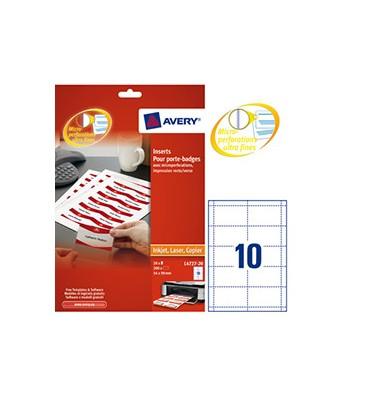 AVERY Boîte de 200 bristols micro-perforés 190/m* en planche A4 pour badges 5,4 x 9 cm