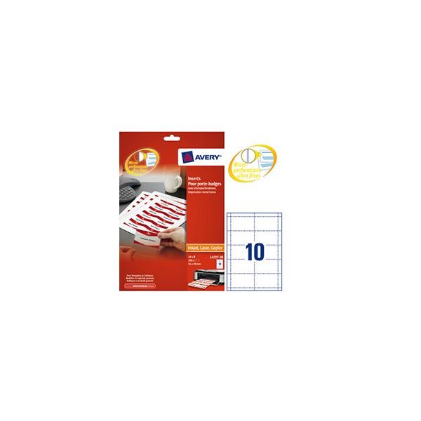 AVERY Boîte de 200 bristols micro-perforés 190/m* en planche A4 pour badges 5,4 x 9 cm (photo)