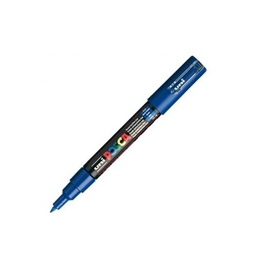 UNIBALL Marqueur peinture à l'eau, encre à pigmentation Bleu foncé, pointe extra fine UNI POSCA PC1MC