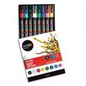 UNIBALL Pochette 8 marqueurs peinture à base d'eau, couleurs assorties, pointe moyenne UNI POSCA PC5M