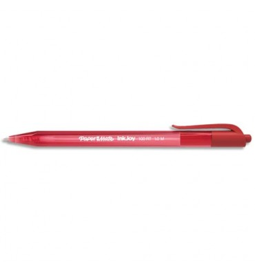 PAPERMATE Stylo bille rétractable, pointe moyenne, corps triangulaire plastique couleur, encre ULV rouge