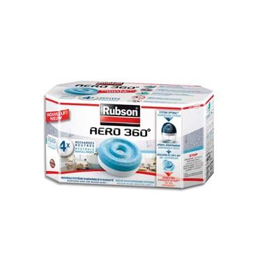 RUBSON Boîte de 4 recharges Aero 360° pour absorbeur lutte contre l'humidité et les mauvaises odeurs