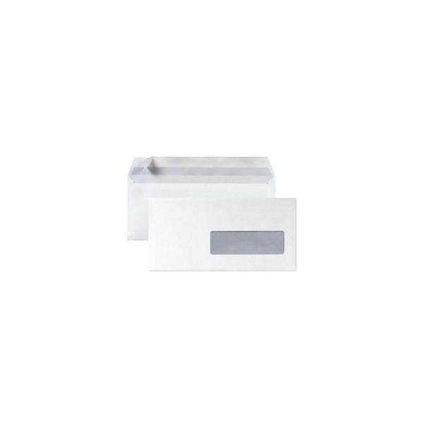 5 ETOILES Boîte de 500 enveloppes DL 110 x 220 mm blanc 75g à fenêtre 45 x 100 mm auto-
