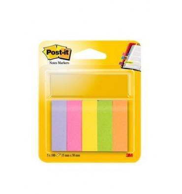 POST-IT 5 blocs index de 100 feuilles format 15 x 50 mm coloris assortis