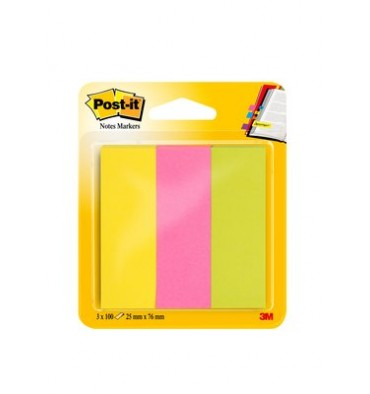 POST-IT 3 blocs index de 100 feuilles format 25 x 76 mm coloris assortis