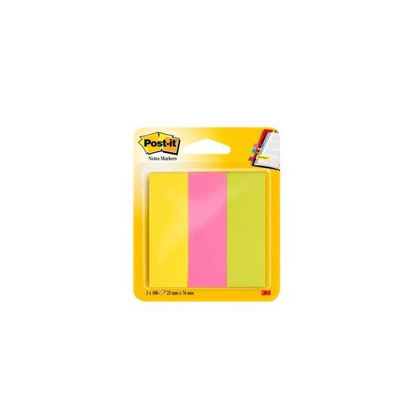 POST-IT 3 blocs index de 100 feuilles format 25 x 76 mm coloris assortis