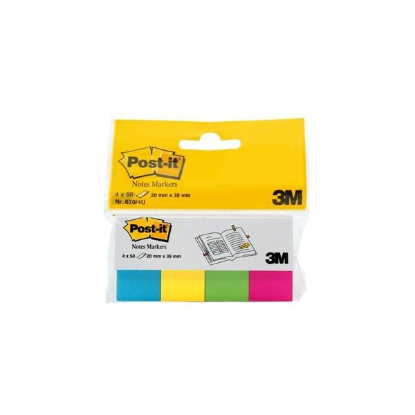 POST-IT 4 bloc index de 50 feuilles format 20 x 38 mm coloris assortis