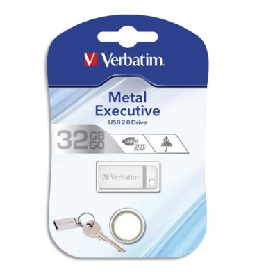 VERBATIM Clé USB 2.0 Metal Executive Drive Silver 32Go 98749 + redevance