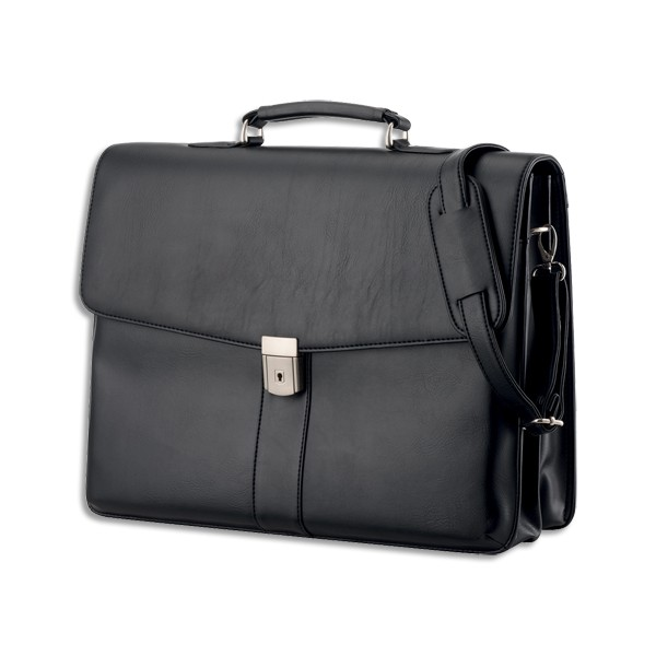 ALASSIO Malette noire Pescara imitation cuir avec plusieurs compartiments 31 x 41 x 12,5cm 47014 (photo)