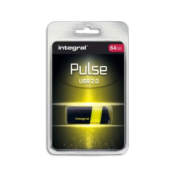 INTEGRAL Clé USB 2.0 PULSE 64Go Jaune INFD64GBPULSEYL + redevance