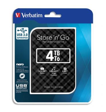 VERBATIM Disque dur 2,5'' USB 3.0 Style Noir 4To 53223 + redevance
