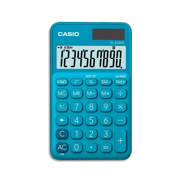 CASIO Calculatrice de poche à 10 chiffres SL-310UC-BU-S-EC, coloris bleu