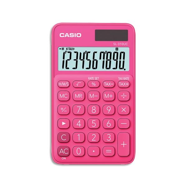 CASIO Calculatrice de poche à 10 chiffres SL-310UC-RD-S-EC, coloris rose