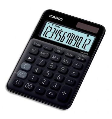 CASIO Calculatrice de bureau à 12 chiffres MS-20UC-BK-S-EC, coloris noir