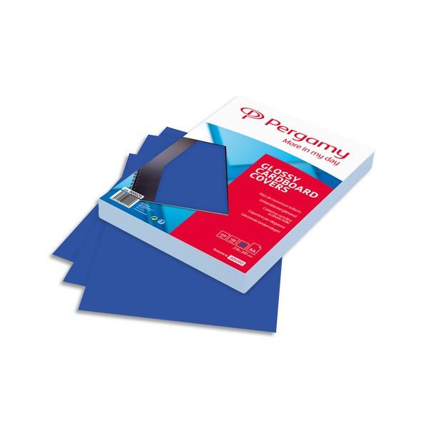 PERGAMY Boîte de 100 plats de couverture brillants A4 250g Bleu