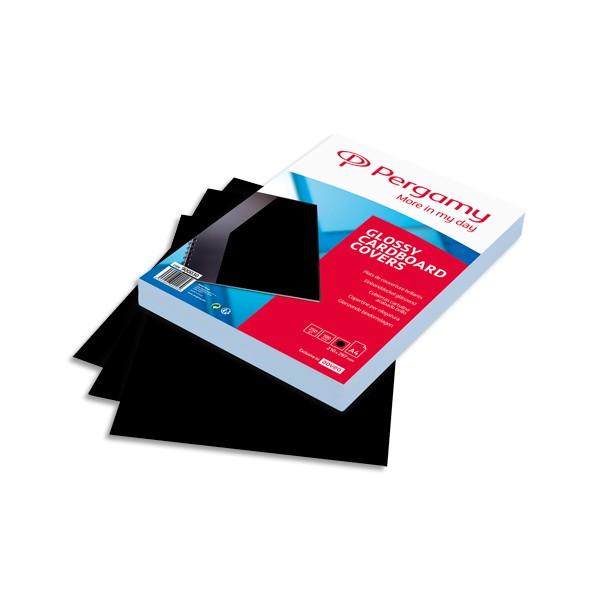 PERGAMY Boîte de 100 plats de couverture brillants A4 250g Noir