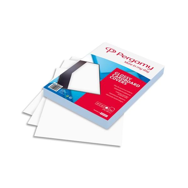 PERGAMY Boîte de 100 plats de couverture brillants A4 250g Blanc