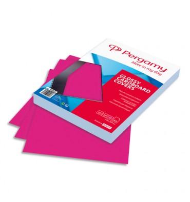 PERGAMY Boîte de 100 plats de couverture brillants A4 250g Rose trend