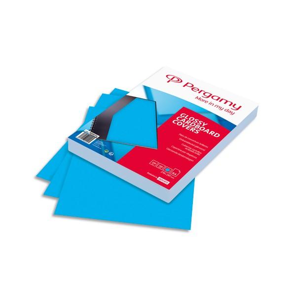 PERGAMY Boîte de 100 plats de couverture brillants A4 250g Bleu Clair