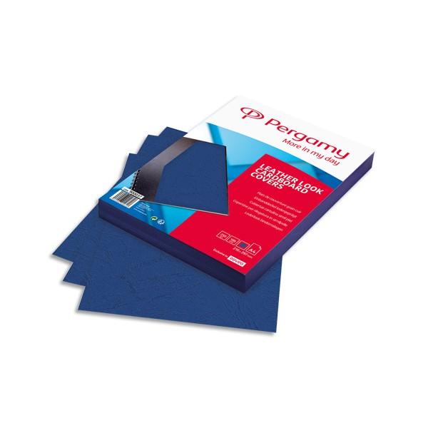 PERGAMY Boîte de 100 plats de couverture grain cuir A4 250g Bleu