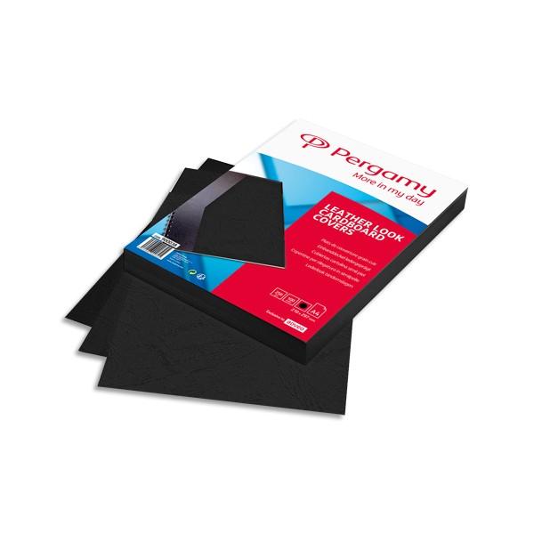 PERGAMY Boîte de 100 plats de couverture grain cuir A4 250g Noir