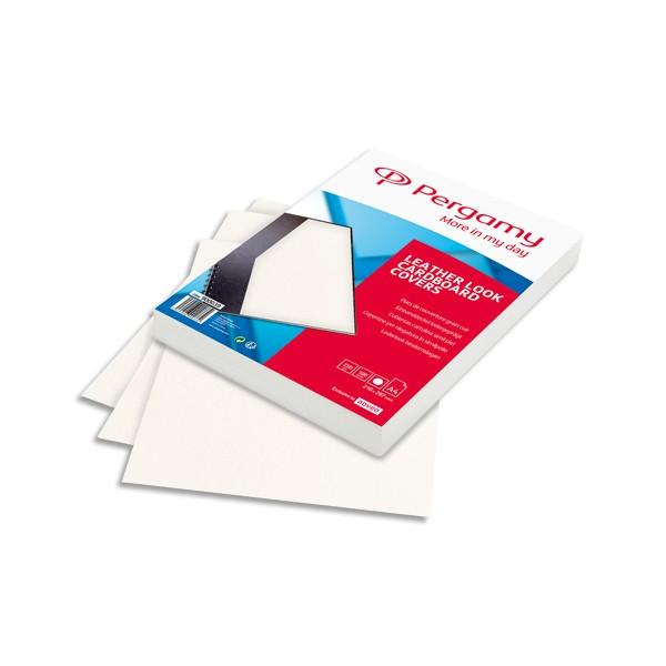 PERGAMY Boîte de 100 plats de couverture grain cuir A4 250g Blanc