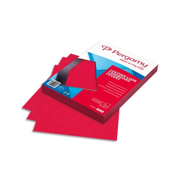PERGAMY Boîte de 100 plats de couverture grain cuir A4 250g Rouge