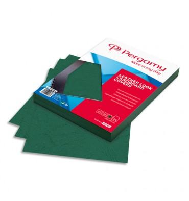 PERGAMY Boîte de 100 plats de couverture grain cuir A4 250g Vert Foncé