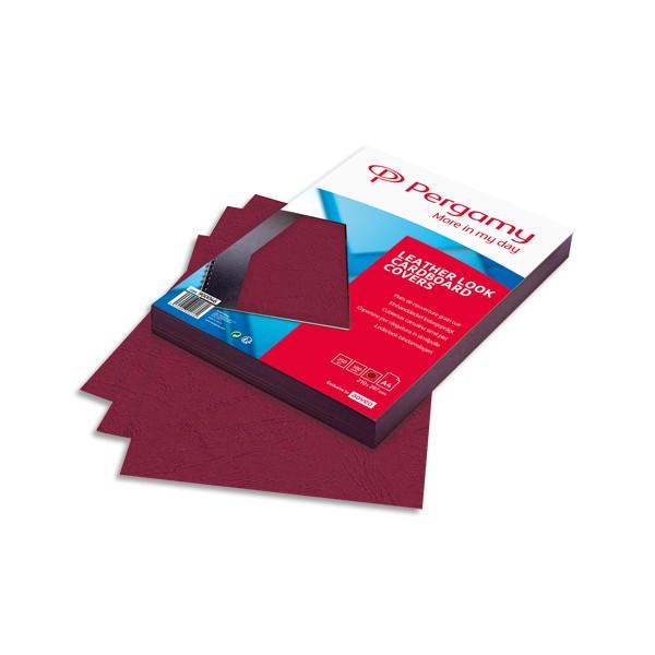 PERGAMY Boîte de 100 plats de couverture grain cuir A4 250g Bordeaux