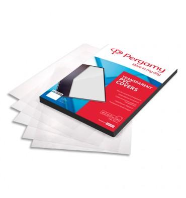 PERGAMY Boîte de 100 plats de couverture PVC A4 300 microns transparents
