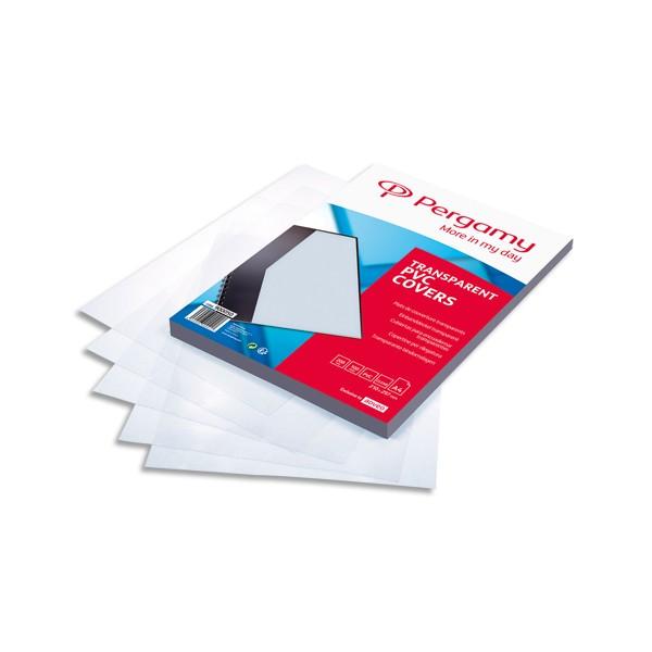 PERGAMY Boîte de 100 plats de couverture PVC A4 200 microns transparents