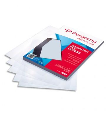PERGAMY Boîte de 100 plats de couverture PVC A4 150 microns transparents